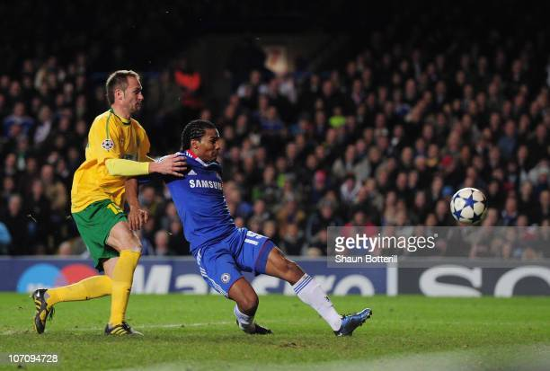 Florent Malouda of Chelsea scoring his side's second goal during the UEFA Champions League group F match between Chelsea and MSK Zilina at Stamford...