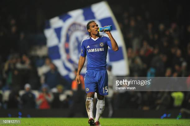 Florent Malouda of Chelsea walks off the pitch after his goal wins the Barclays Premier League match between Chelsea and Bolton Wanderers at Stamford...