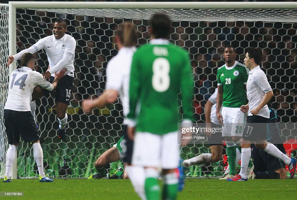 Florent Malouda (2nd L) of France celebrates with his team mates after scoring his team's second goal during the International friendly match between Germany and France at Weser Stadium on February 29, 2012 in Bremen, Germany.
