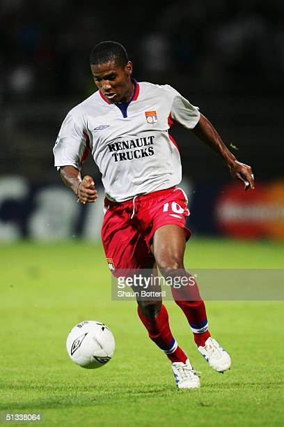 Florent Malouda of Lyon in action during the UEFA Champions League Group D match between Olympique Lyonnais and Manchester United at the Municipal de...