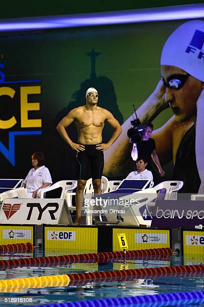 Florent Manaudou competes in the Final 50m Freestyle men's on day six of the French National swimming championships on April 3 2016 in Montpellier...