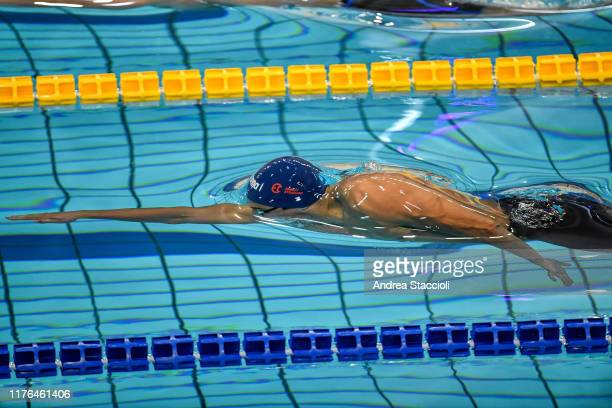 Florent Manaudou of Energy Standard competes in the Men's 50m Freestyle Skin Race during the day two of the second match of the International...