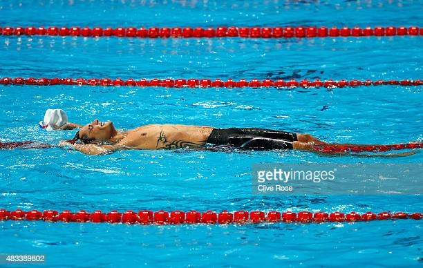 Florent Manaudou of France celebrates winning the gold medal in the Men's 50m Freestyle Final on day fifteen of the 16th FINA World Championships at...