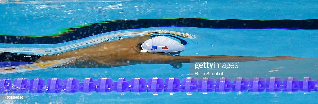 Florent Manaudou of France competes in the men's 100m freestyle heats during day 9 of the 32nd LEN European Swimming Championships 2014 at Europa-Sportpark on August 21, 2014 in Berlin, Germany.