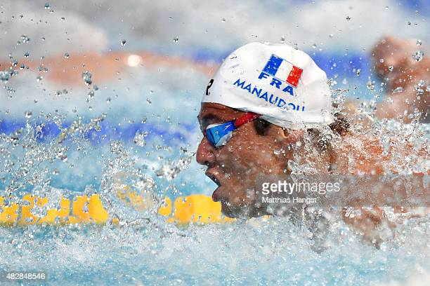 Florent Manaudou of France competes in the Men's 50m Butterfly Final on day ten of the 16th FINA World Championships at the Kazan Arena on August 3,...