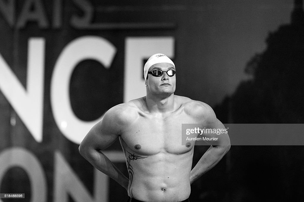 Florent Manaudou of France prepares to compete in the 100m Men's freestyle on day four of the French National Swimming Championships on April 01, 2016 in Montpellier, France.