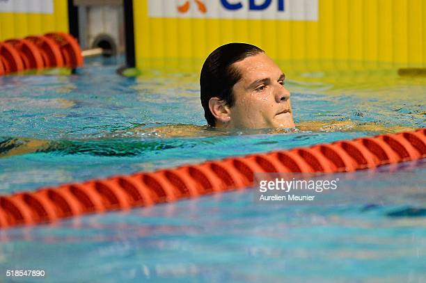 Florent Manaudou of France reacts after his third place in the 100m Men's freestyle final on day four of the French National Swimming Championships...