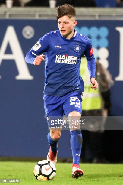 Florent Muslija of Karlsruher SC during the 3 Liga match between SV Wehen Wiesbaden and Karlsruher SC at on February 2 2018 in Wiesbaden Germany