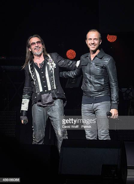 Florent Pagny and Calogero perform at Palais des Sports at La Cigale on October 1, 2014 in Paris, France.