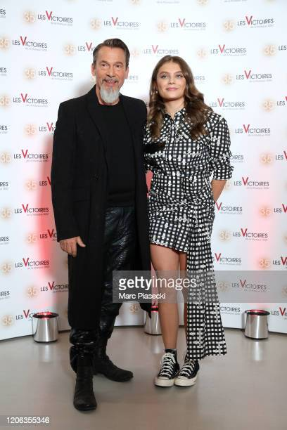 Florent Pagny and Maelle attend the 35th 'Les Victoires De La Musique' photocall At La Seine Musicale on February 14, 2020 in Boulogne-Billancourt,...