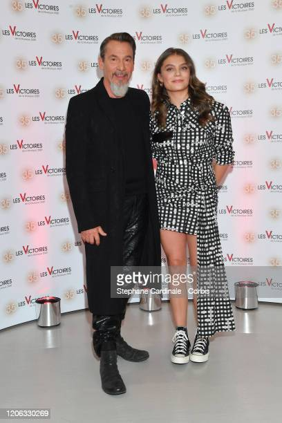 Florent Pagny and Maelle Pistoia a.k.a. Maelle attend the 35th 'Les Victoires De La Musique' photocall At La Seine Musicale on February 14, 2020 in...