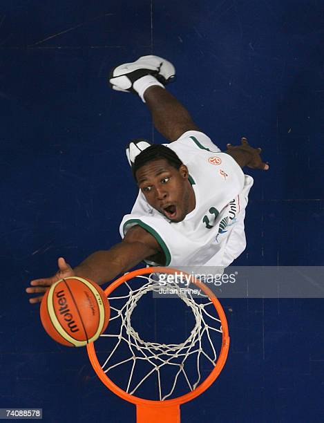 Florent Pietrus of Unicaja tips the ball towards the basket to score during the EuroLeague Final Four 3rd 4th match between Tau Ceramica and Unicaja...