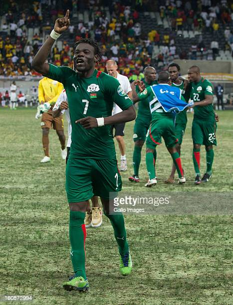 AFRICA FEBRUARY 06 Florent Rouamba from Burkina Faso celebrating after winning the 2013 Orange African Cup of Nations 2nd Semi Final match between...