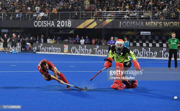Florent Van Aubel of Belgium scores his sides third and winning penalty during the FIH Men's Hockey World Cup Final between Belgium and the...