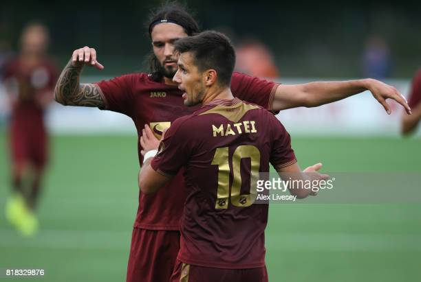 Florentin Matei of HNK RIjeka celebrates with Leonard Zuta after scoring the opening goal during the UEFA Champions League second qualifying round...