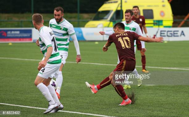 Florentin Matei of HNK RIjeka scores the opening goal during the UEFA Champions League second qualifying round second leg match between The New...