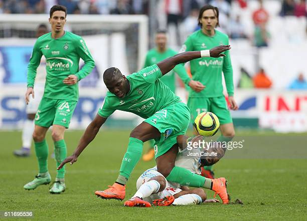 Florentin Pogba of SaintEtienne and Alaixys Romao of OM in action during the French Ligue 1 match between Olympique de Marseille and AS SaintEtienne...