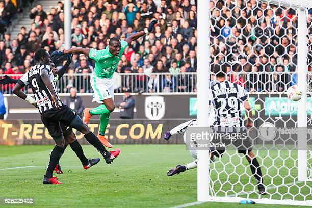 Florentin Pogba of SaintEtienne scores the 11 draw during the French Ligue 1 match between Angers and Saint Etienne on November 27 2016 in Angers...
