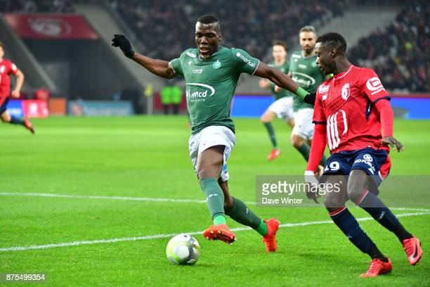 Florentin Pogba of St Etienne and Nicolas Pepe of Lille during the Ligue 1 match between Lille OSC and AS SaintEtienne at Stade Pierre Mauroy on...