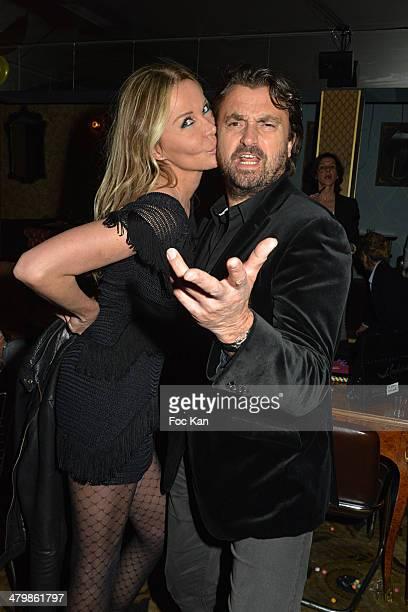 Florentine Leconte and Henri Leconte attend the 'Moustache Party' Emmanuel De Brantes Birthday Party At Le Bus Restaurant on March 20 2014 in Paris...