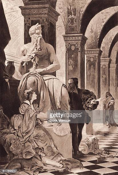 Florentine Renaissance artist Michelangelo talks to Italian poet Vittoria Colonna at the foot of his sculpture 'Moses' in the church of San Pietro in...