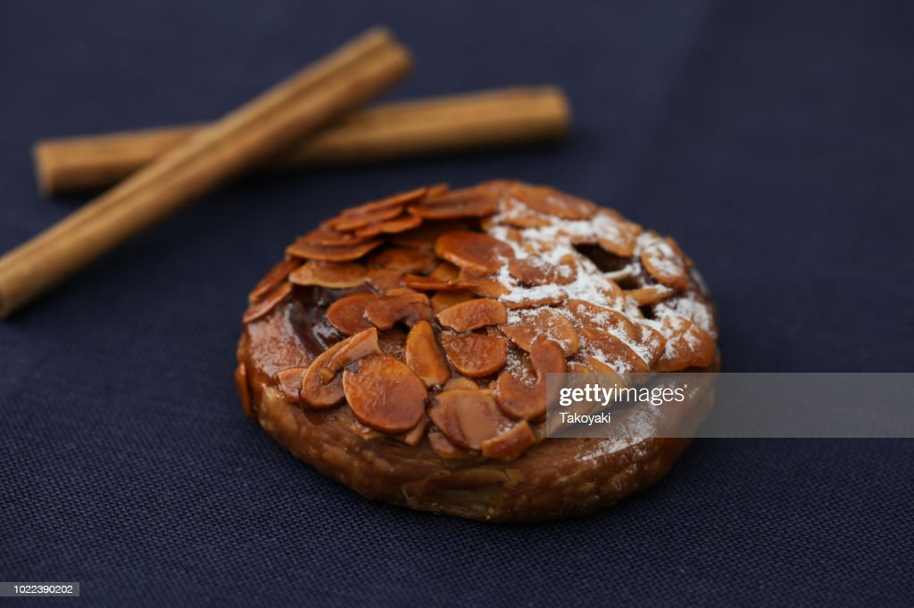 Florentines sweet almond pie isolated on table cloth : Stock Photo