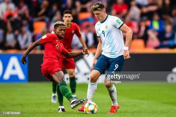 Florentino Luis of Portugal U20 Adolfo Gaich of Argentina U20 during the FIFA U20 World Cup Poland 2019 group F match between Portugal U20 and...