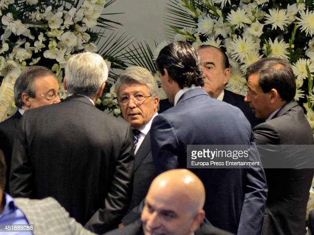 Florentino Perez and Enrique Cerezo attend the funeral chapel for Real Madrid legend and honorary president Alfredo Di Stefano who died at 88 years...