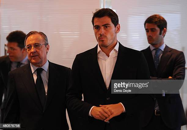 Florentino Perez and Iker Casillas arrive for a press conference to announce that Iker Casillas will be leaving Real Madrid football team on July 13...