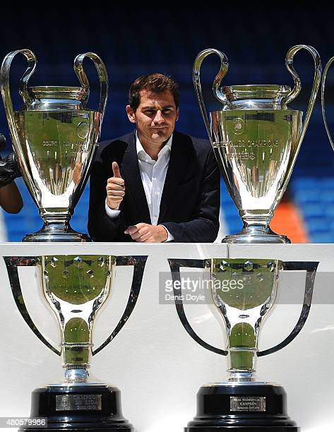 Florentino Perez and Iker Casillas attend a press conference to announce that Iker Casillas will be leaving Real Madrid on July 13 2015 in Madrid...