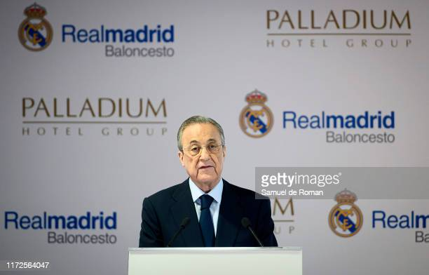 Florentino Perez attends during the presentation of Palladium Hotel Group as a new sponsor of the Real Madrid basketball team at the Santiago...