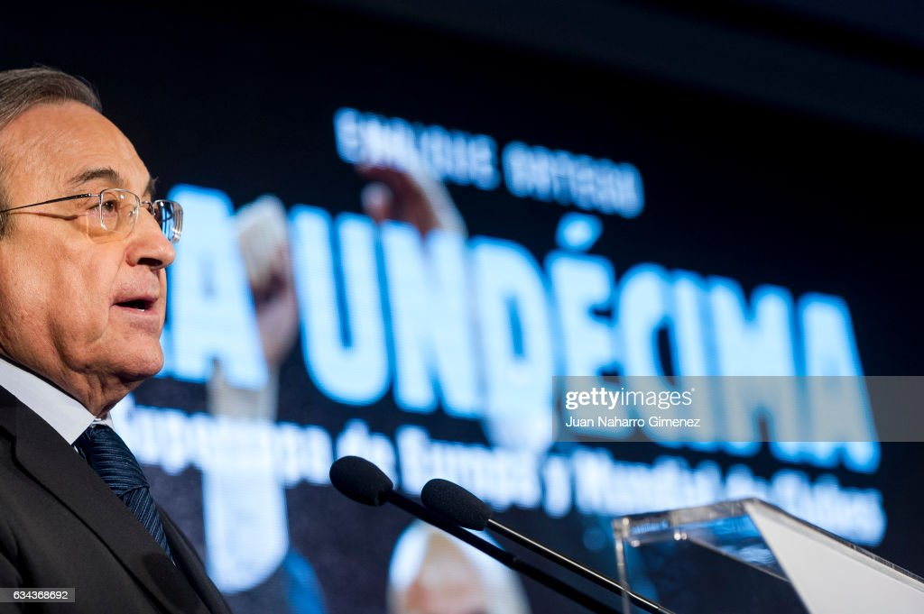 Florentino Perez attends 'La Undecima. Supercopa de Europa y Mundial de Clubes' book presentation at Estadio Santiago Bernabeu on February 9, 2017 in Madrid, Spain.