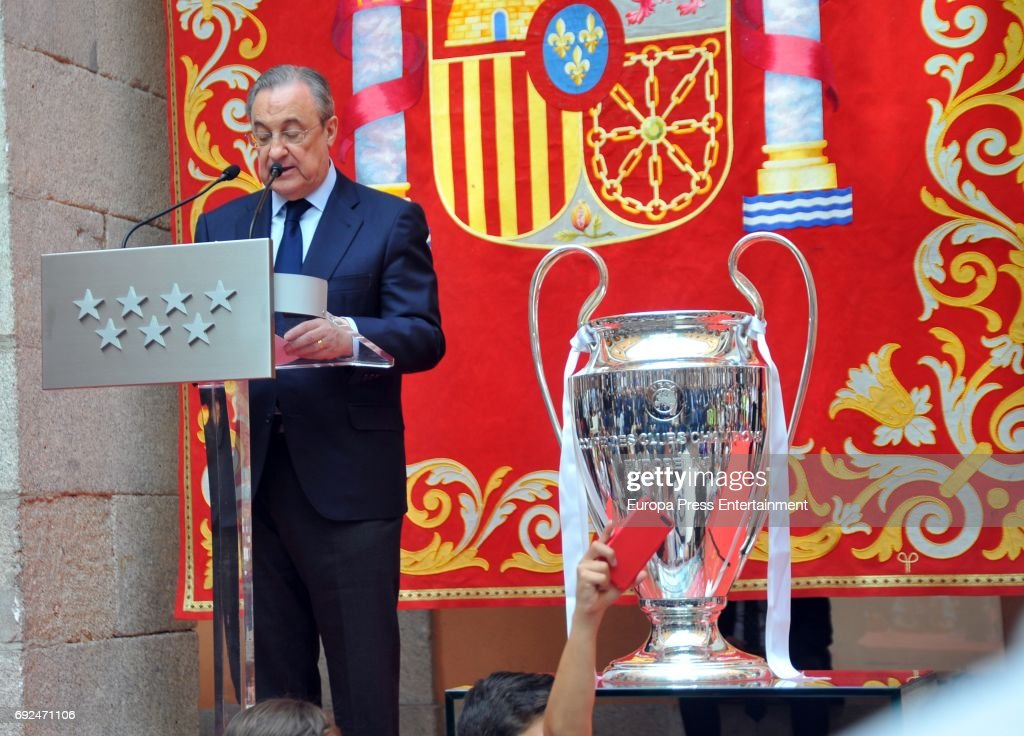 Florentino Perez celebrates during the Real Madrid celebration the day after winning the 12th UEFA Champions League Final at Casa de Correos on June 4, 2017 in Madrid, Spain.