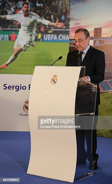 Florentino Perez during a press conference to announce Ramos' new fiveyear contract with Real Madrid at the Santiago Bernabeu stadium on August 17...