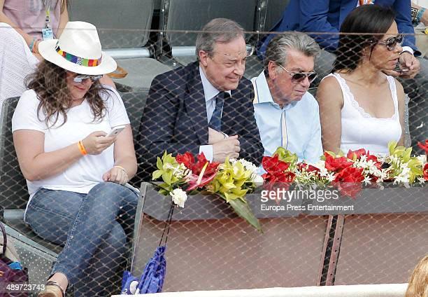 Florentino Perez, Manolo Santana and Claudia Rodriguez attend Mutua Madrid Open at La Caja Magica on May 10, 2014 in Madrid, Spain.