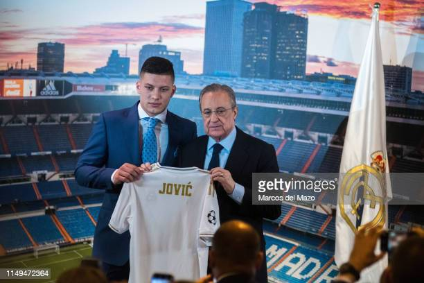Florentino Perez presenting Real Madrid new player Luka Jovic in Santiago Berbabeu Stadium