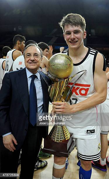 Florentino Perez president of Real Madrid and Nikola Doncic Of Real Madrid with the trophy after the Adidas Next Generation Tournament Final Game...
