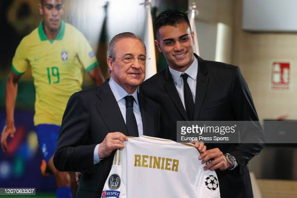Florentino Perez President of Real Madrid and Reinier Jesus Carvalho poses for photo durign his presentation as a new player of Real Madrid CF at...