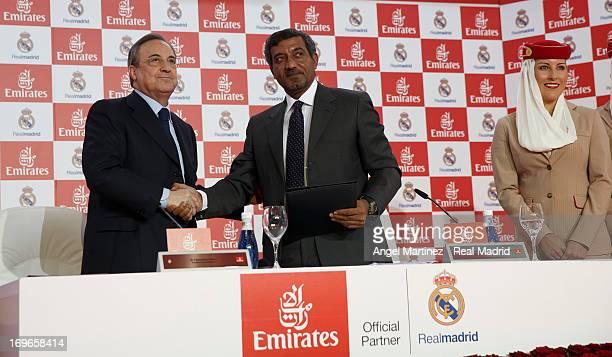Florentino Perez president of Real Madrid and Sheikh Ahmed bin Saeed Al Maktoum Chairman of Emirates Airline attend a press conference during a...
