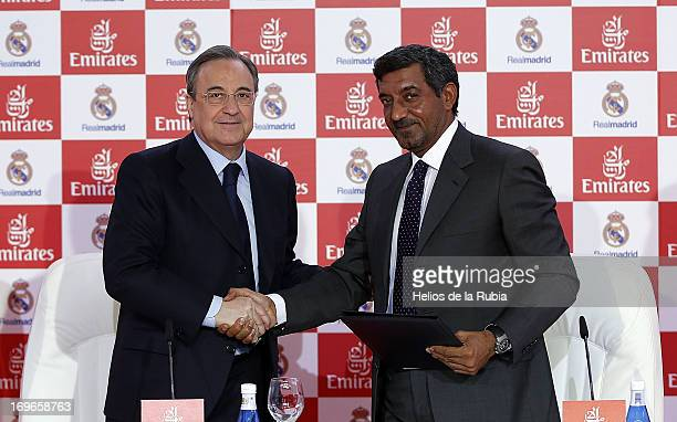 Florentino Perez president of Real Madrid and Sheikh Ahmed bin Saeed Al Maktoum Chairman of Emirates Airline attend a press conference for the...