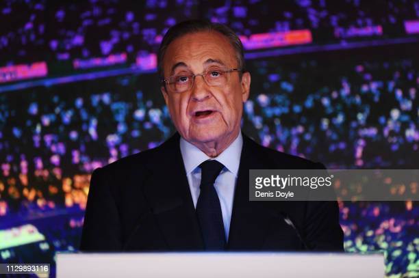 Florentino Perez President of Real Madrid at the announcement of Zinedine Zidane as new Real Madrid head coach at Estadio Santiago Bernabeu on March...