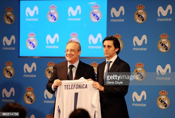 Florentino Perez President of Real Madrid CF and Jose Maria AlvarezPallete Chairman and CEO of Telefonica SA hold a Real shirt after announcing a new...