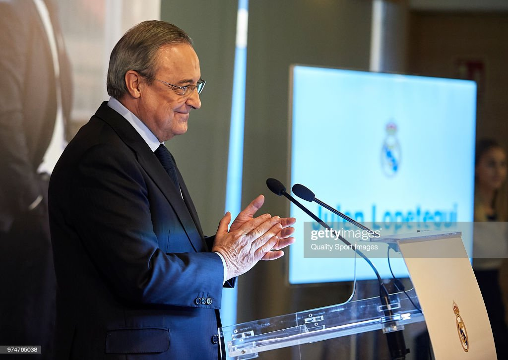 Florentino Perez, President of Real Madrid reacts before announcing Julen Lopetegui as new coach at Santiago Bernabeu Stadium on June 14, 2018 in Madrid, Spain.