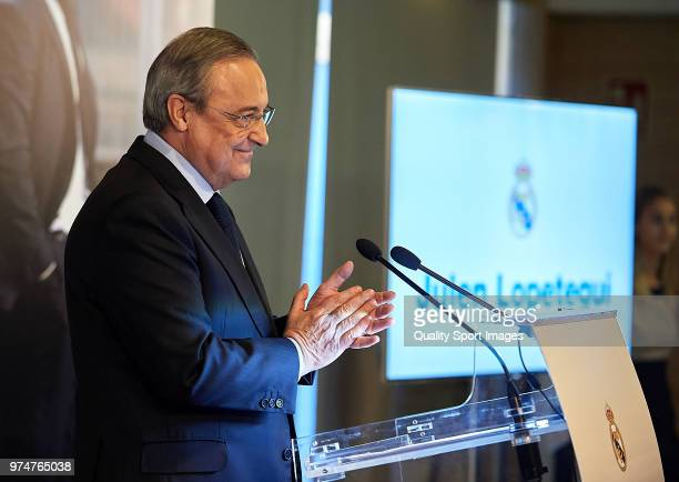 Florentino Perez President of Real Madrid reacts before announcing Julen Lopetegui as new coach at Santiago Bernabeu Stadium on June 14 2018 in...