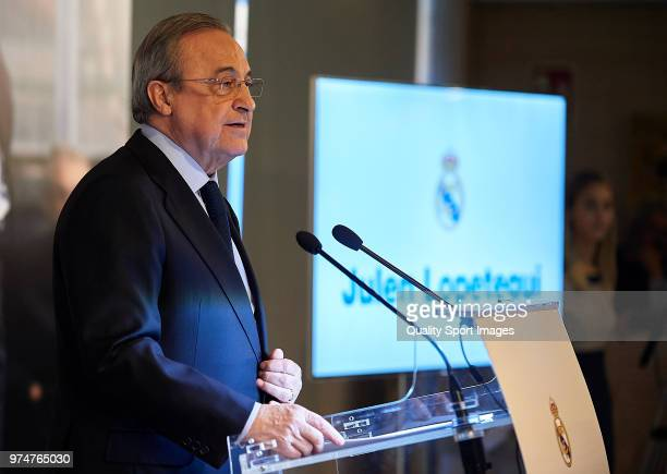 Florentino Perez President of Real Madrid speaks before announcing Julen Lopetegui as new coach at Santiago Bernabeu Stadium on June 14 2018 in...