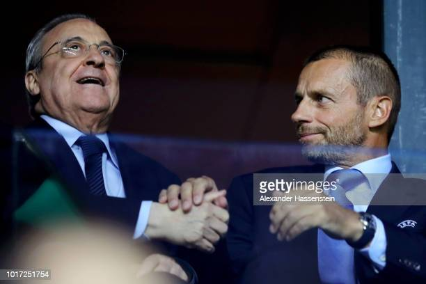 Florentino Pérez, President of Real Madrid and Aleksander Ceferin, President of UEFA shake hands during the UEFA Super Cup between Real Madrid and...