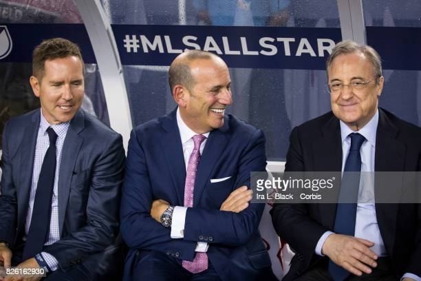 Florentino Pérez president of Real Madrid and Don Garber Commissioner of Major League Soccer at the start of the MLS AllStar match between the MLS...
