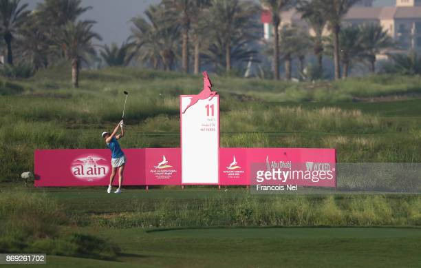 Florentyna Parker of England tees off on the 11th hole during Day Two of the Fatima Bint Mubarak Ladies Open at Saadiyat Beach Golf Club on November...
