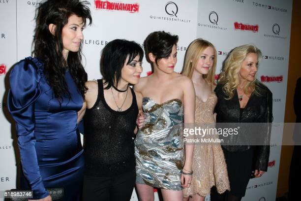 Floria Sigismondi Joan Jett Kristen Stewart Dakota Fanning and Cherie Currie attend New York Premiere Screening of THE RUNAWAYS at Landmark Sunshine...