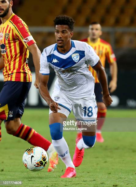 Florian Aye' of Brescia during the Serie A match between US Lecce and Brescia Calcio at Stadio Via del Mare on July 22, 2020 in Lecce, Italy.